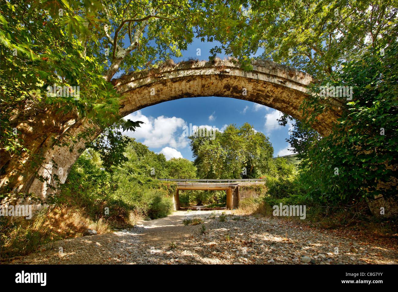 Il Allamanos (o 'Allamanou') ponte di pietra, vicino alla città di Agia, Larissa, Tessaglia, Grecia Immagini Stock