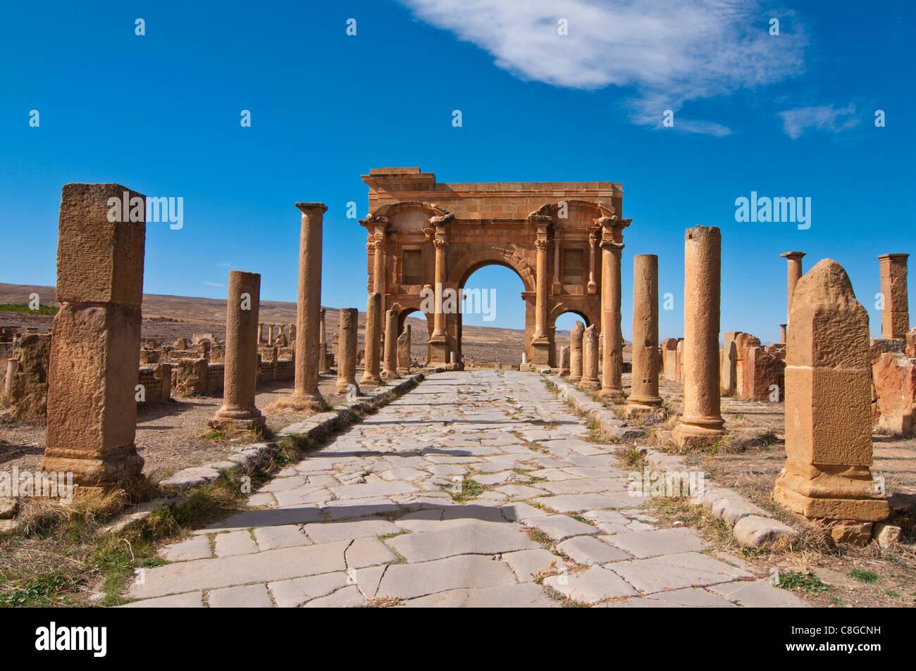Le rovine romane, Timgad, Sito Patrimonio Mondiale dell'UNESCO, Algeria, Nord Africa Immagini Stock