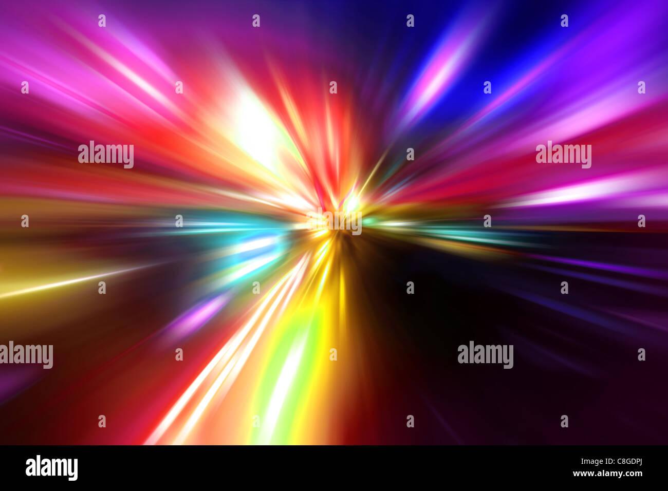 Velocità di accelerazione moto sulla strada di notte Immagini Stock