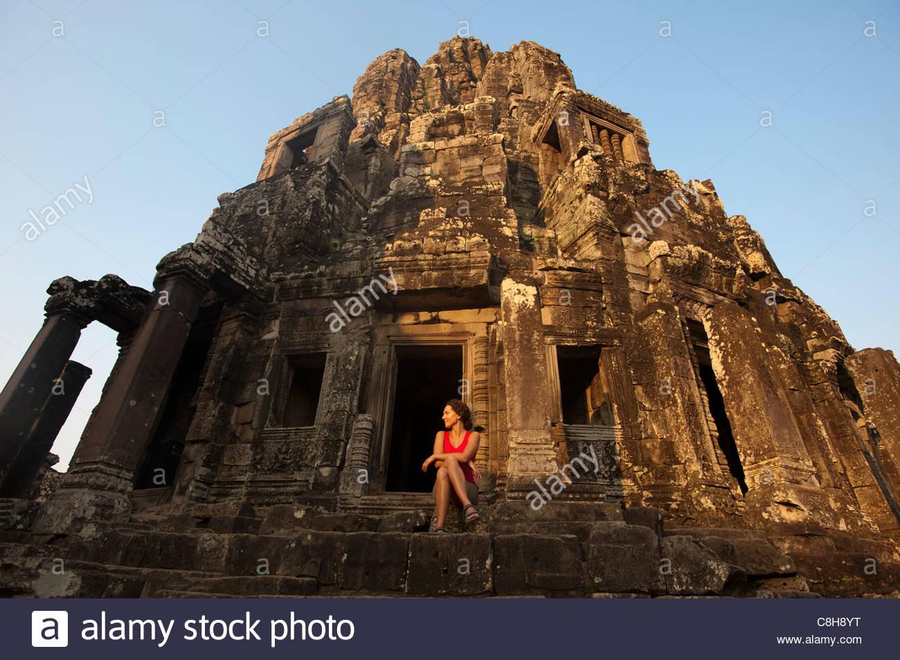 La centrale di sezione superiore del tempio Bayon a Angkor Wat in Cambogia Immagini Stock