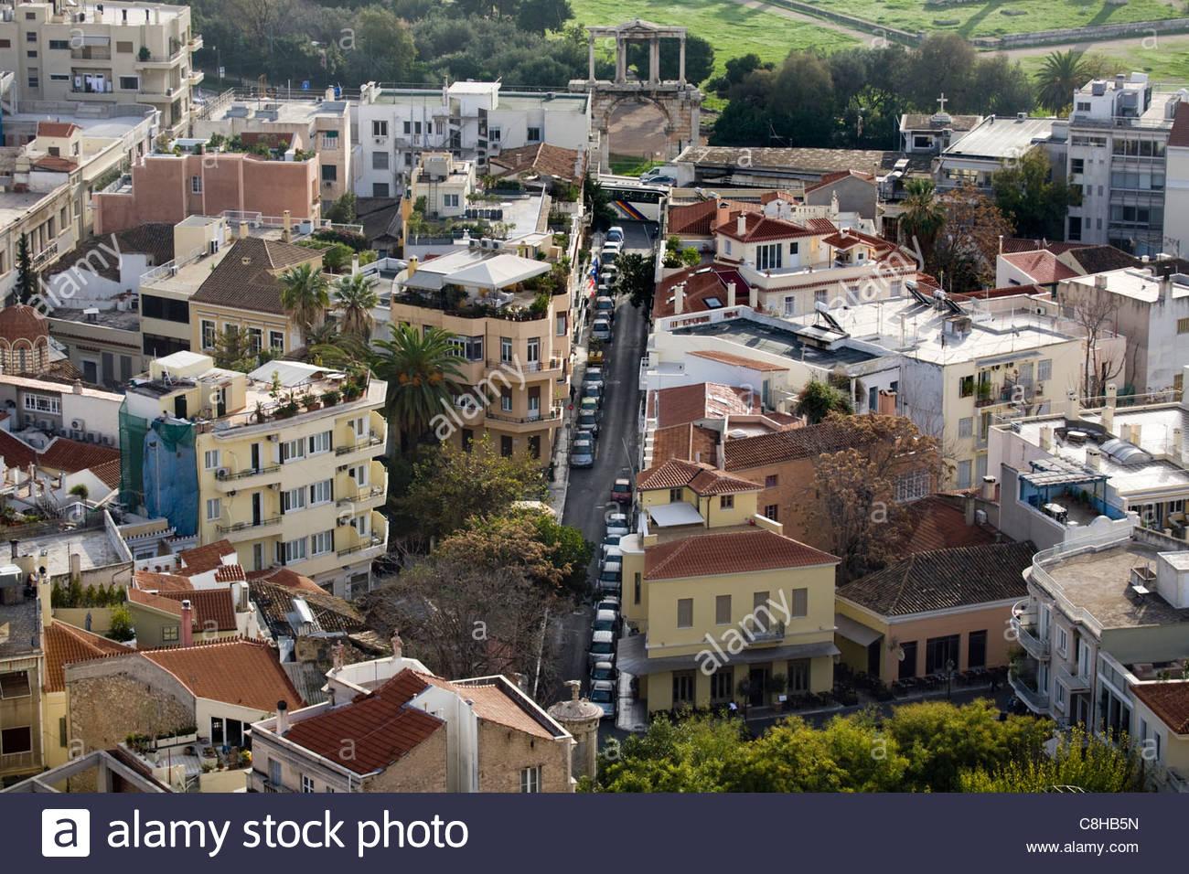L'affascinante e popolare quartiere di Plaka sezione del centro di Atene. Immagini Stock