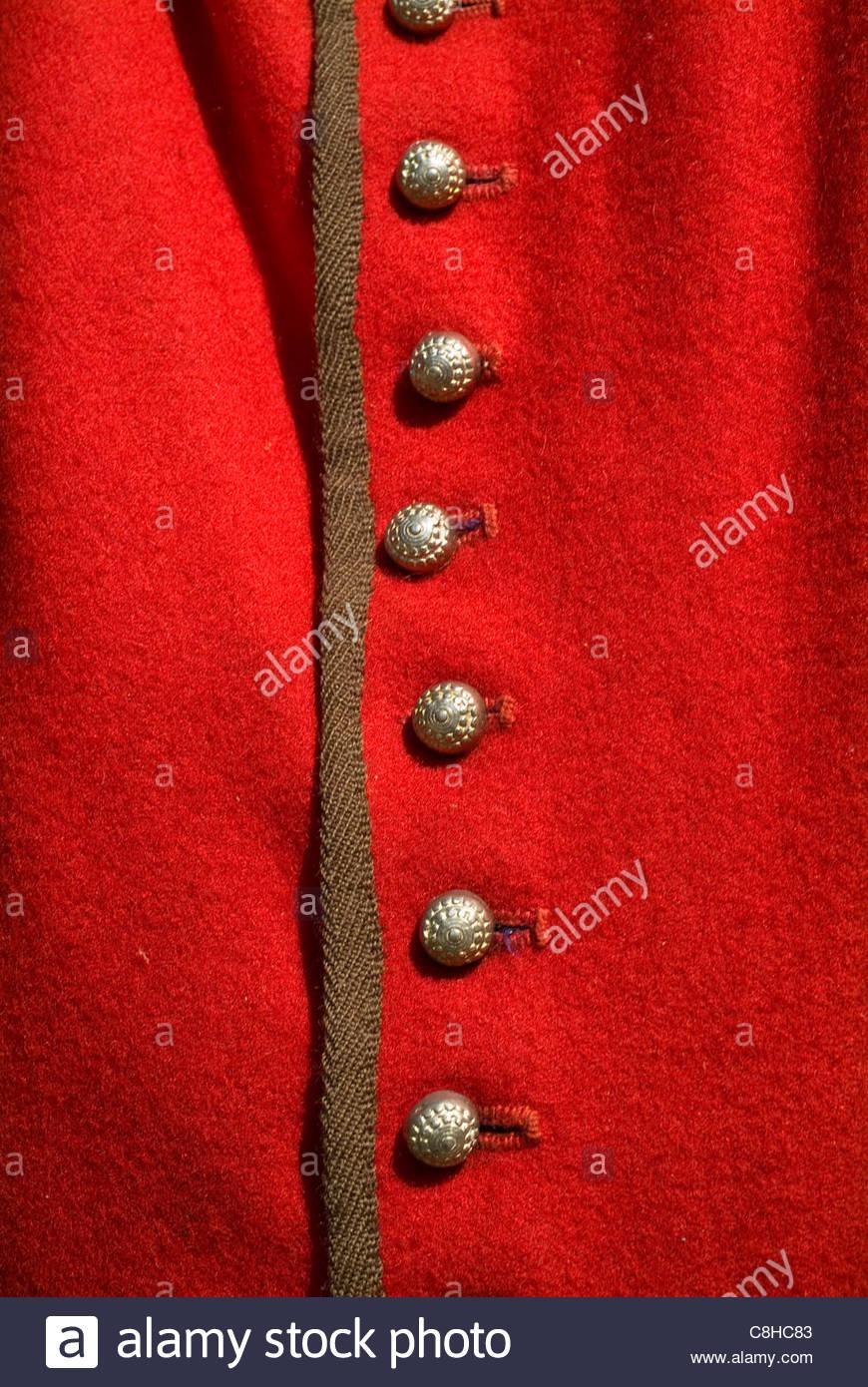 Jamestown Settlement chiudere i dettagli di capi di abbigliamento indossati dai primi coloni. Immagini Stock