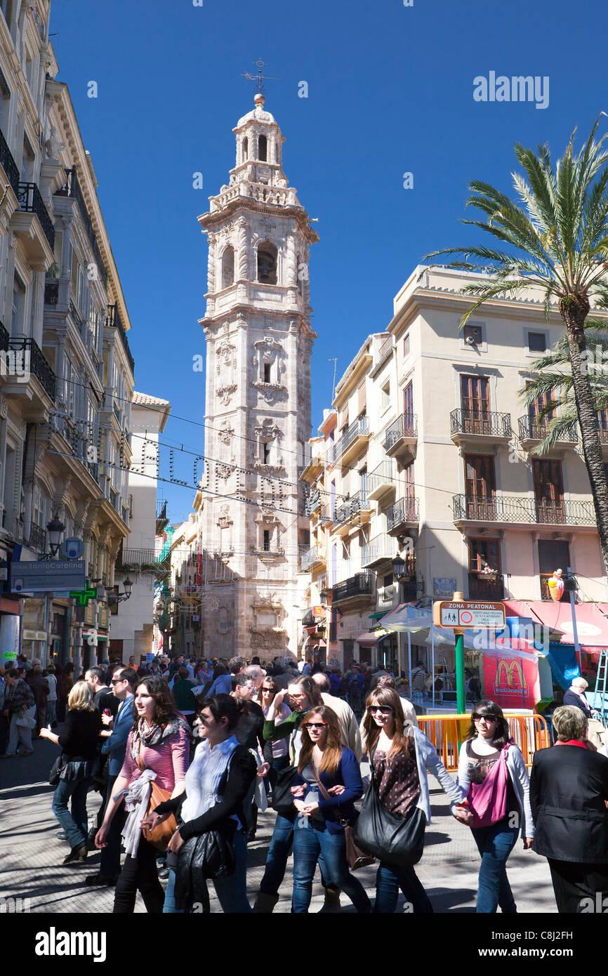 Spagna, Europa, Valencia, Santa Catalina, Torre, fiesta, bellfry Immagini Stock