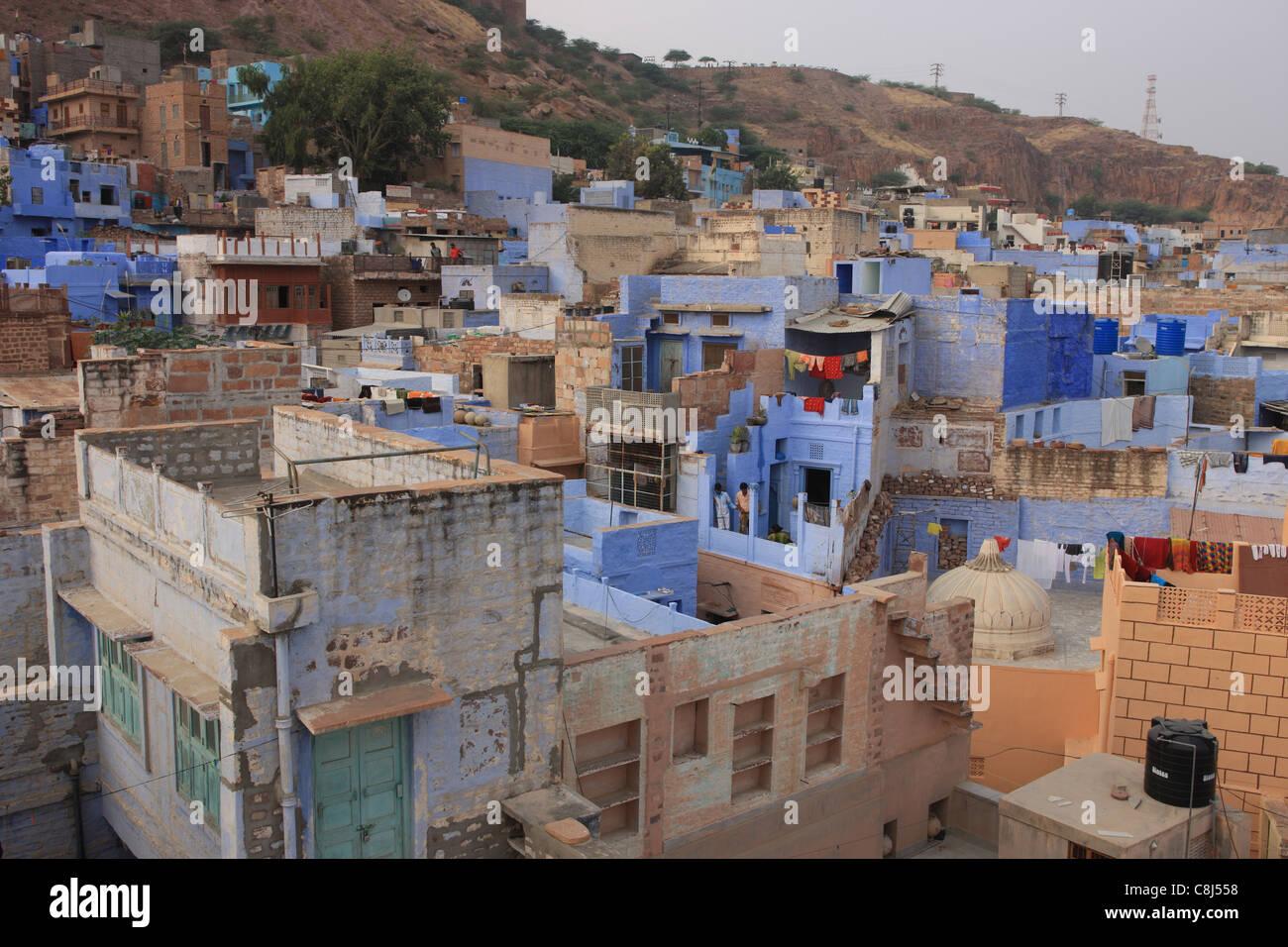 Jodhpur, Rajasthan, India, Asia, deserto di Thar, Rajput, città blu, Sun City, Forte Mehrangarh Immagini Stock
