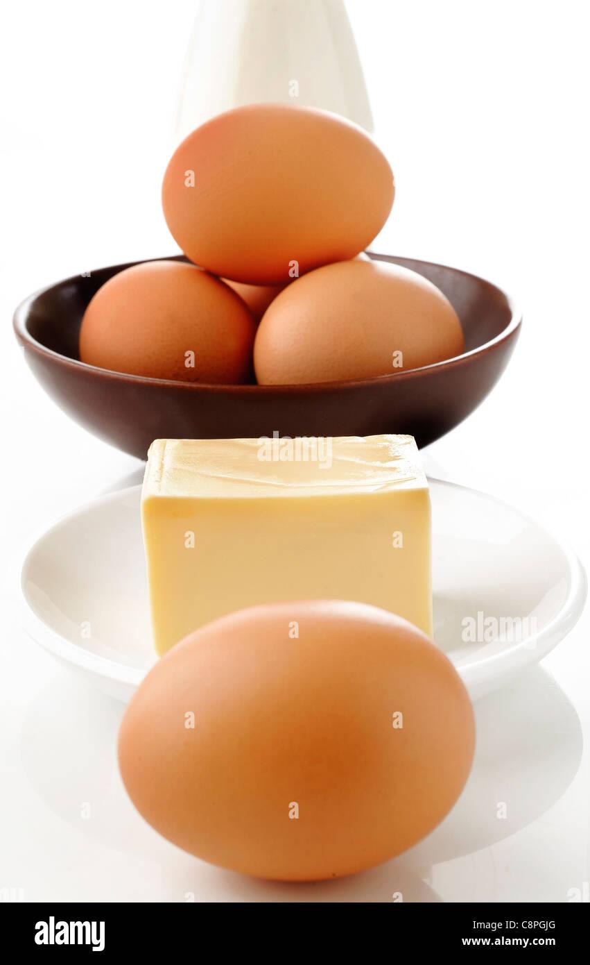 Le uova e i prodotti lattiero-caseari Immagini Stock