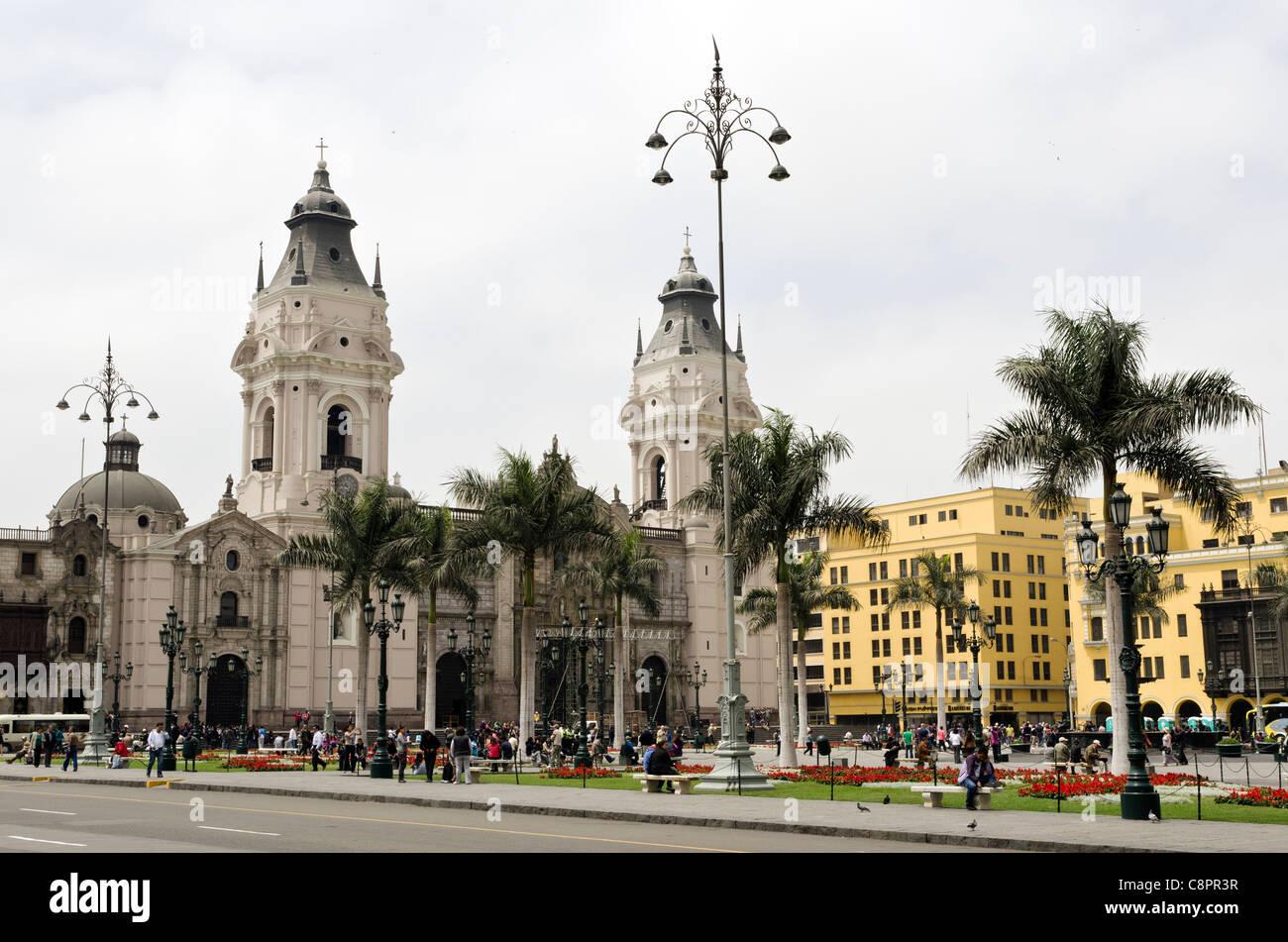 Plaza de Armas centro città Lima Peru Immagini Stock