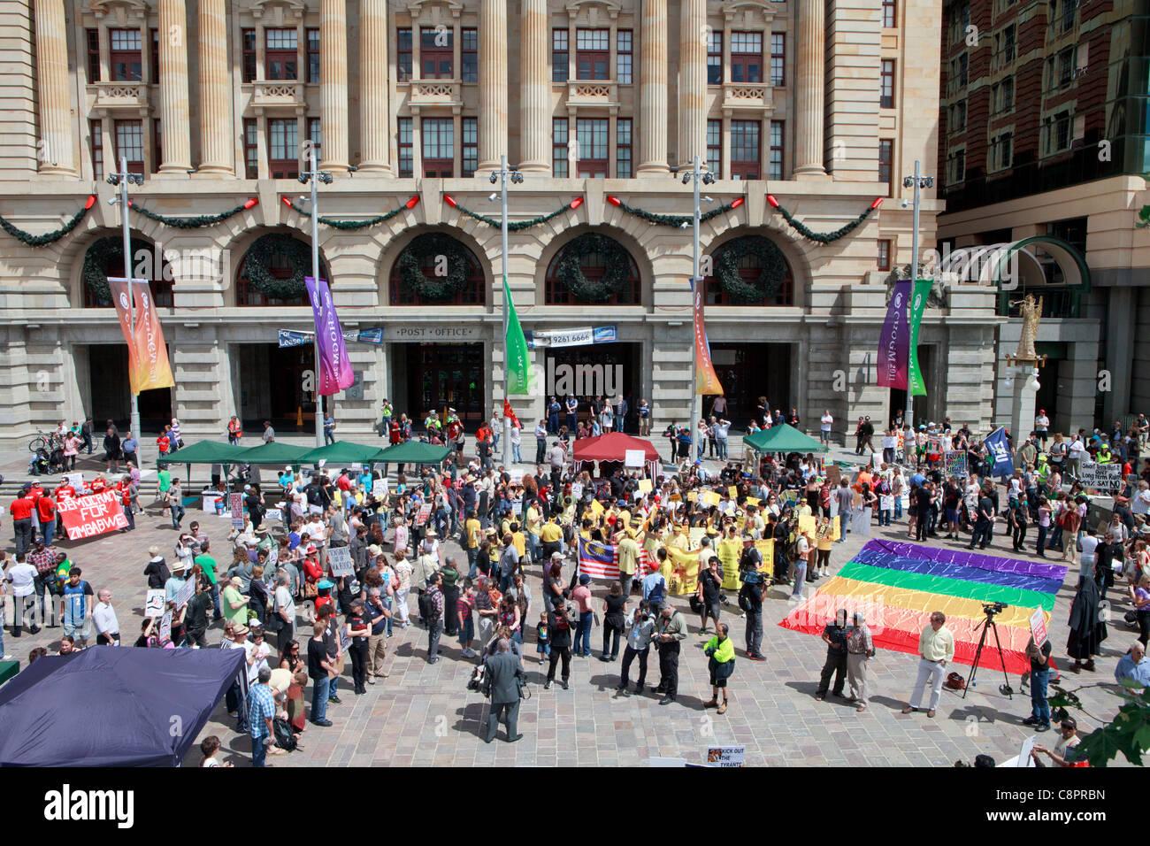 Occupare Perth protesta svoltasi a coincidere con l'inizio del CHOGM 2011. Perth, Western Australia. Immagini Stock
