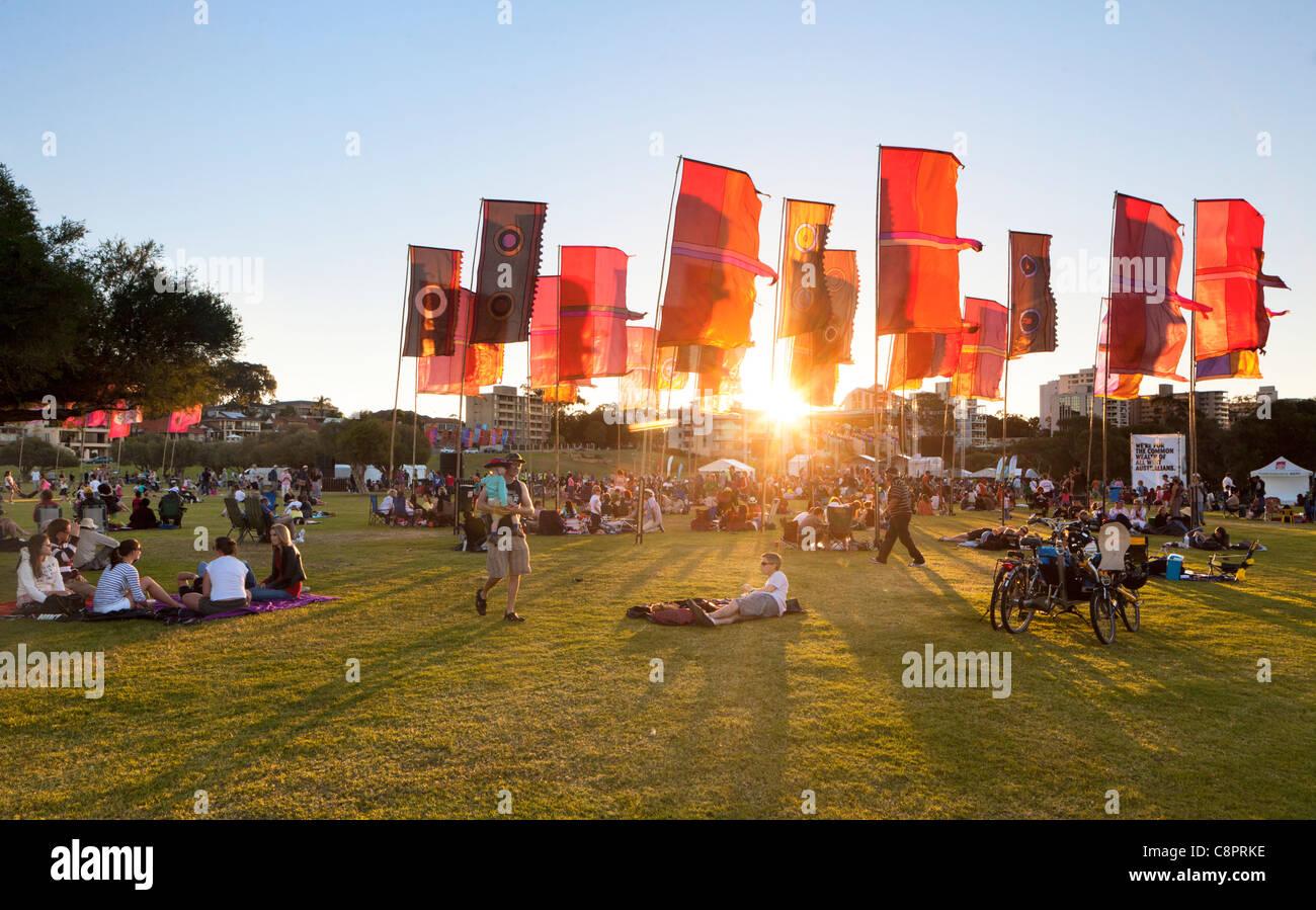 Il sole che tramonta sulla CHOGM 2011 Commonwealth Festival Concerto Finale. a sud di Perth, Western Australia Immagini Stock