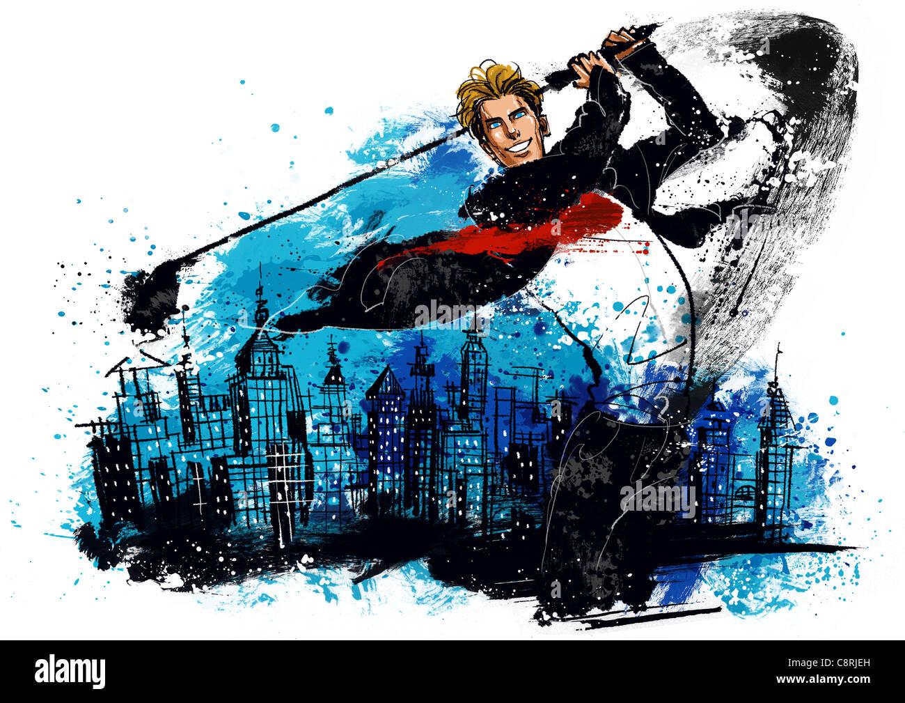 Illustrazione dell uomo d affari giocando a golf Immagini Stock