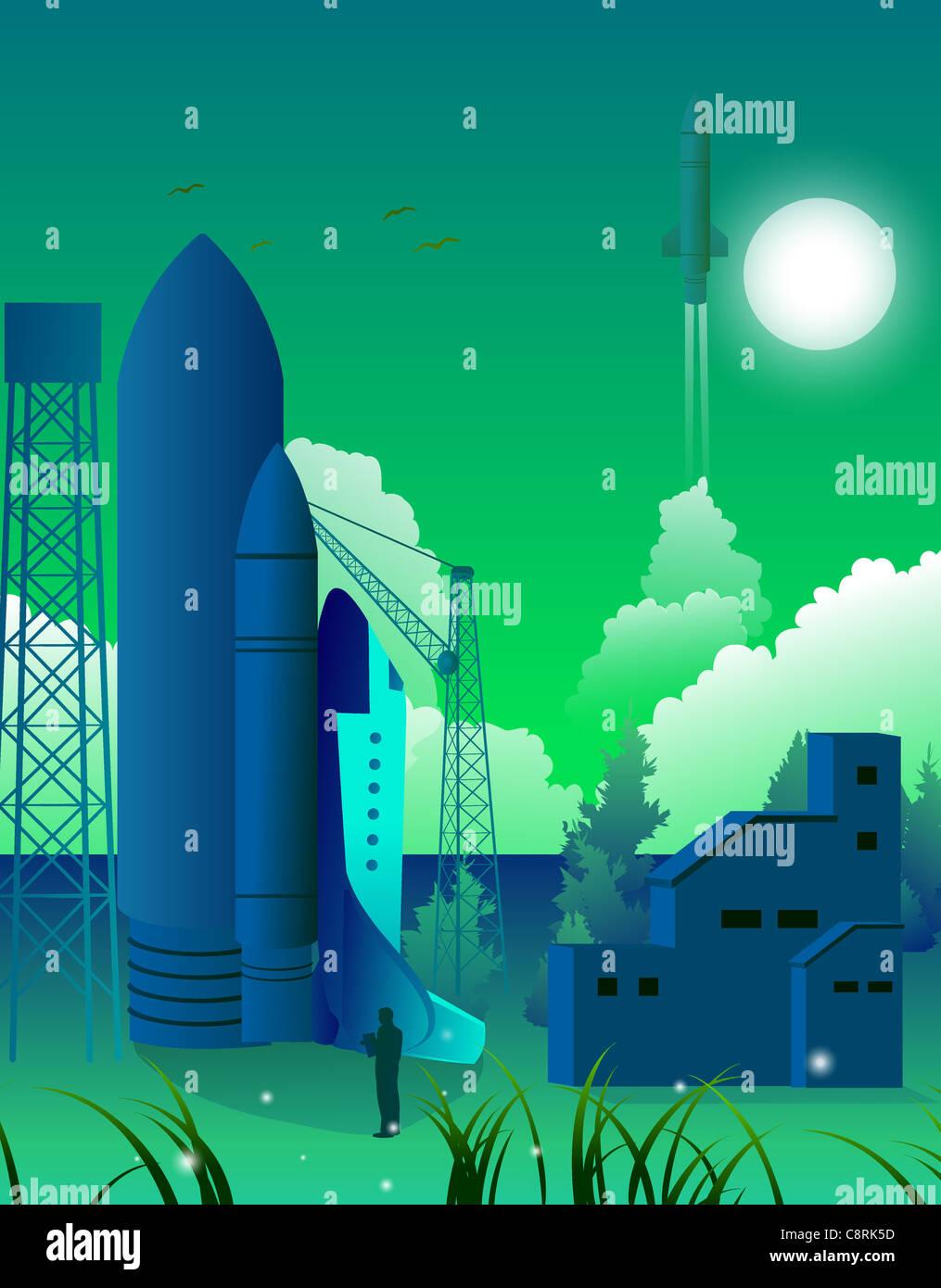 Illustrazione del razzo Immagini Stock
