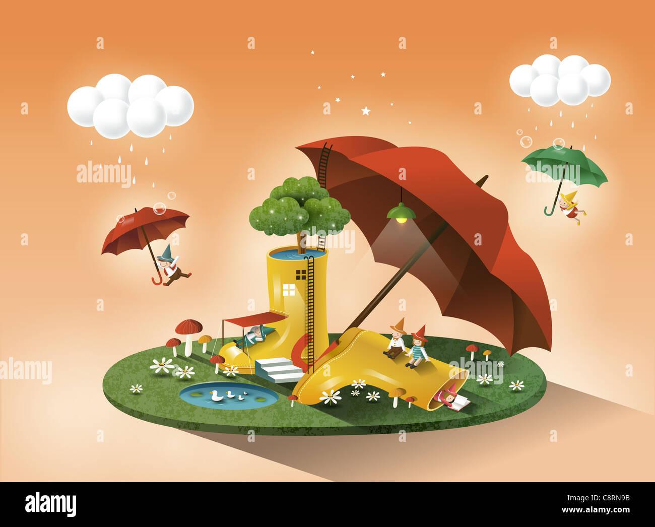 Ombrello e avvio delle piogge Immagini Stock