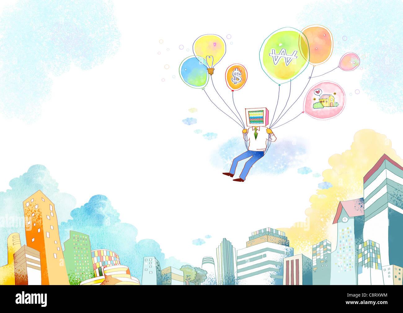 Illustrazione dell'uomo a volare con palloncini Immagini Stock