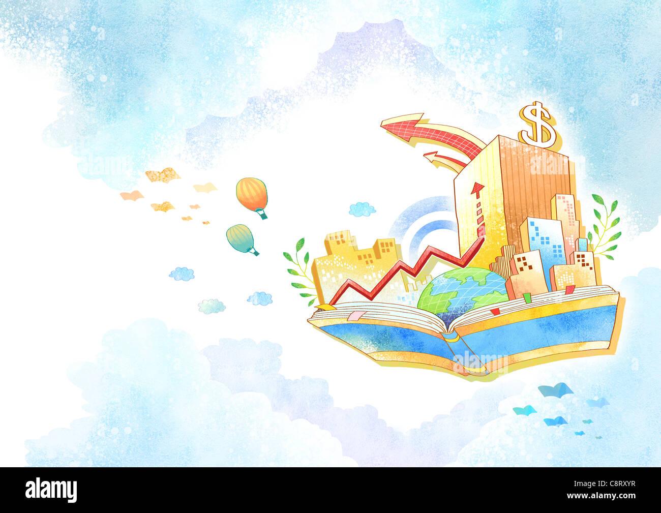 Illustrazione del simbolo del dollaro sulla costruzione Immagini Stock