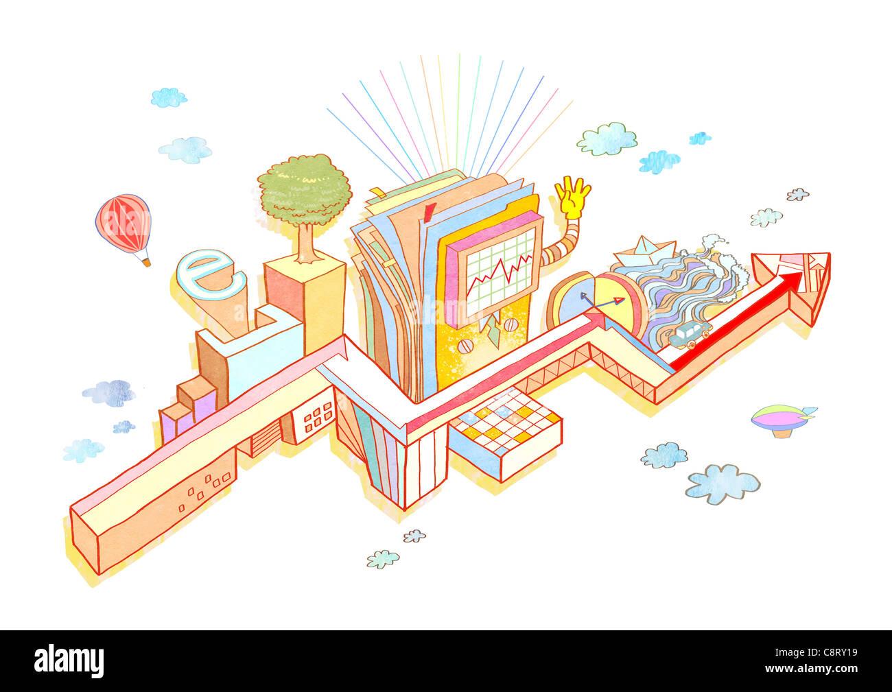 Illustrazione del mazzo di carte e un grafico a linee sul display Immagini Stock