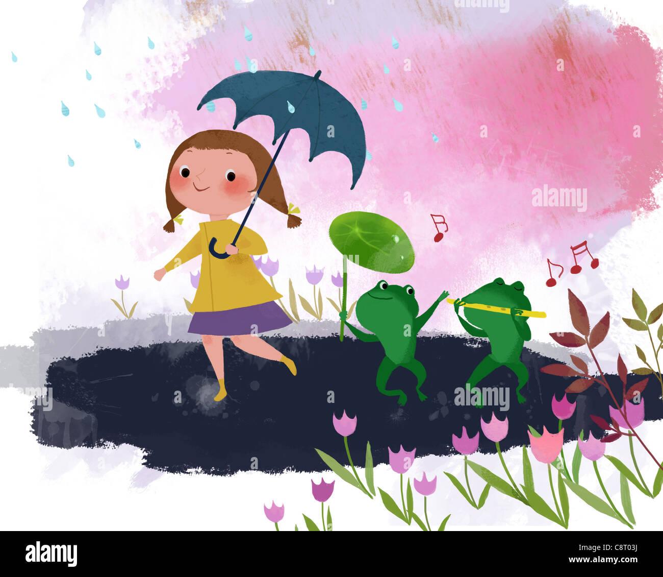 Ragazza con ombrello a piedi con il Froggies sul giorno di pioggia Immagini Stock