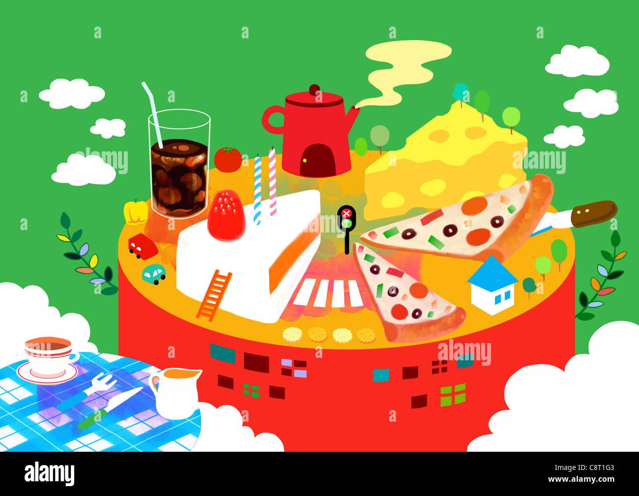 Pizza, dolci, formaggio fetta con la bevanda fredda Immagini Stock