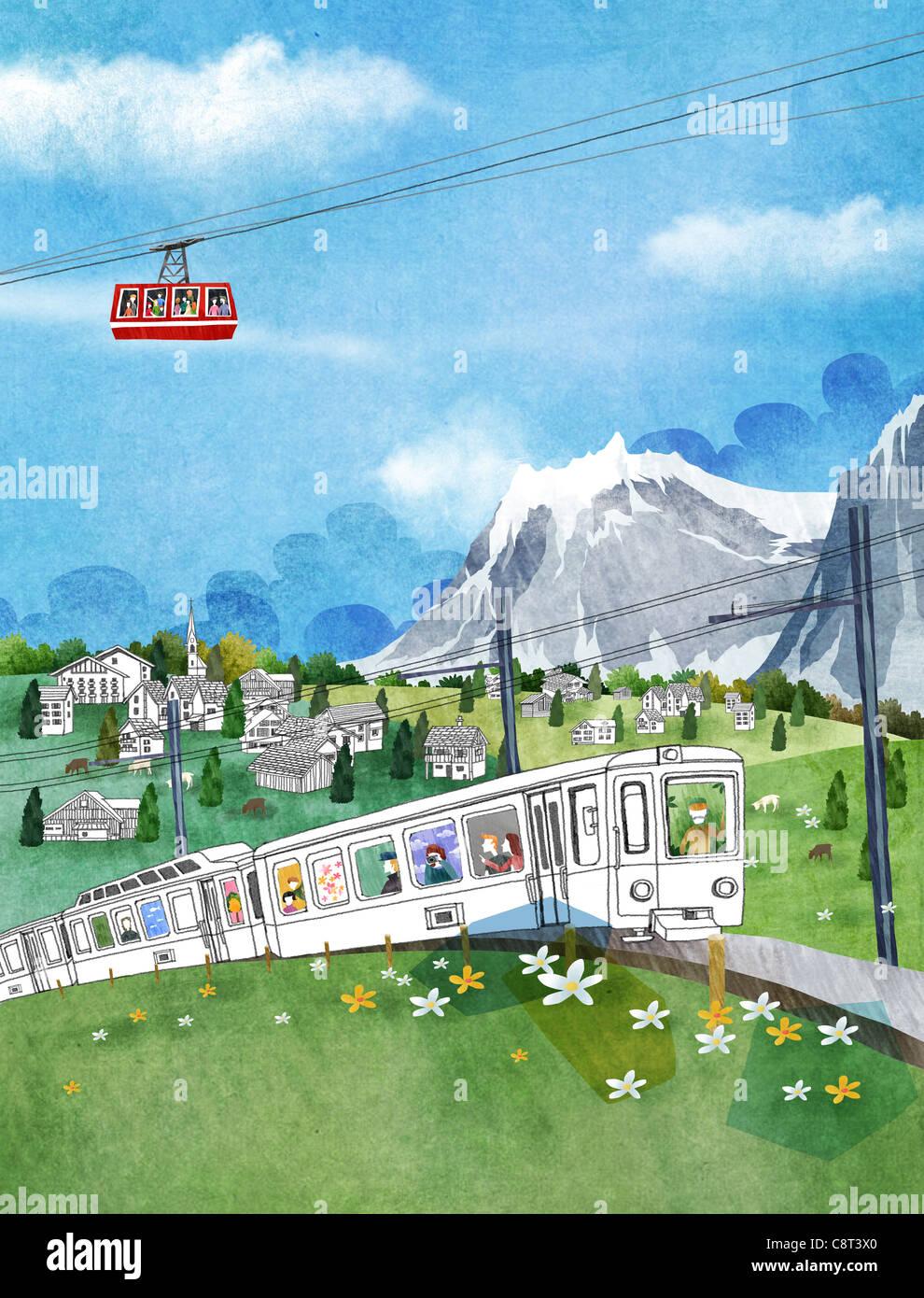 Cabinovia e treno giocattolo sul paesaggio verde Immagini Stock