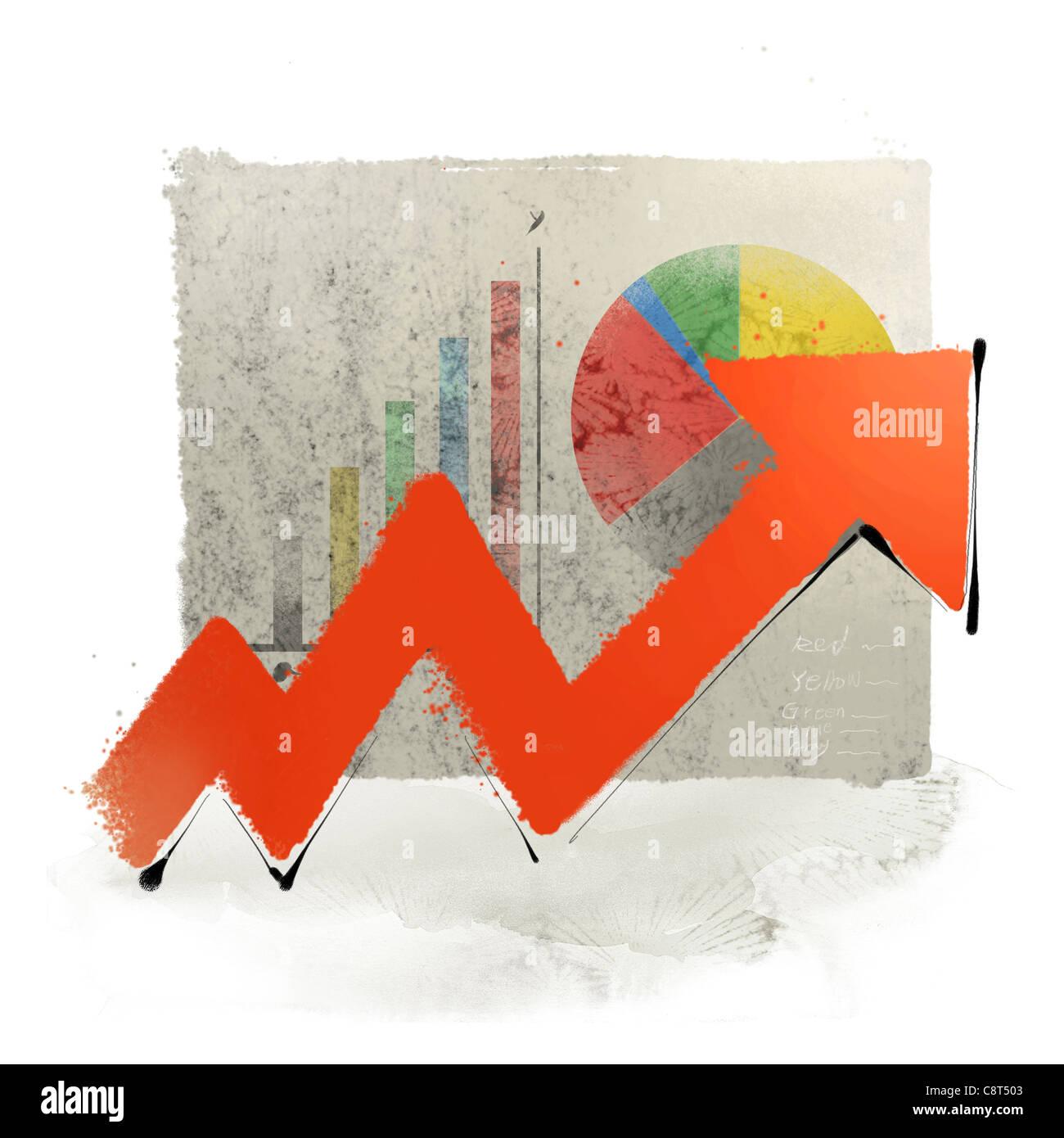 Il grafico e la freccia in movimento verso l'alto Immagini Stock