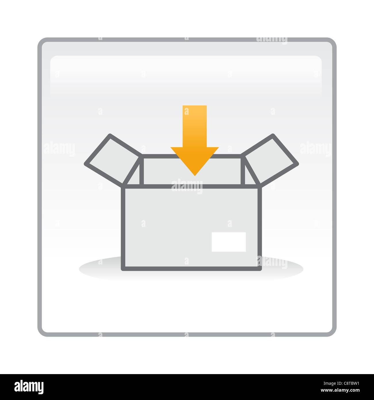 Immagine della confezione con segno di freccia Immagini Stock