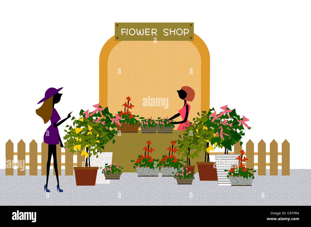 Donna al fioraio Display Immagini Stock