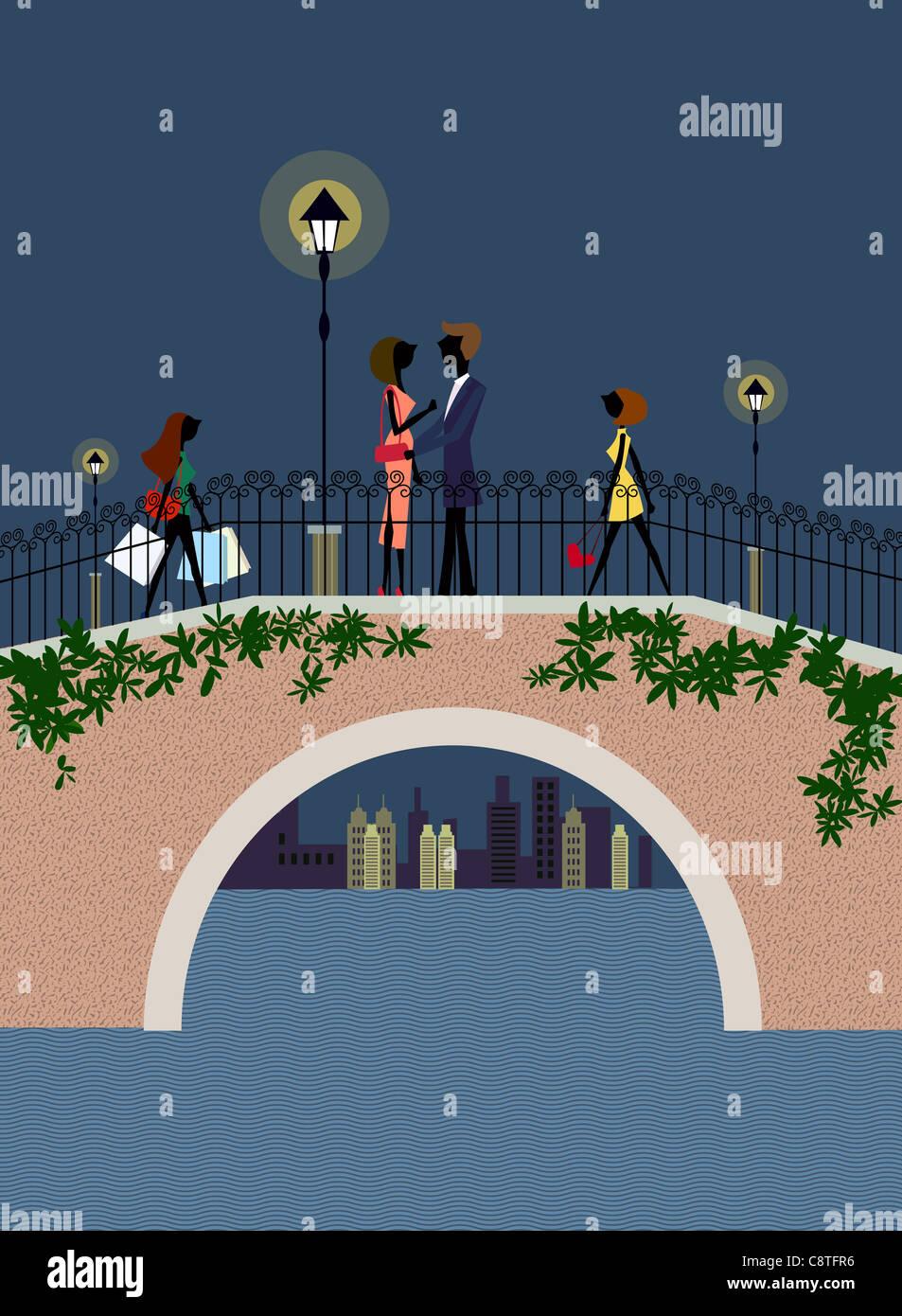 Paio di fare l'amore a piedi Ponte di notte Immagini Stock