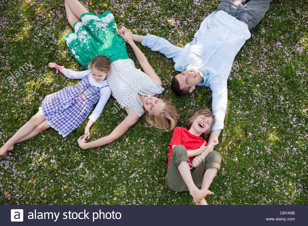 Famiglia posa in erba insieme Immagini Stock
