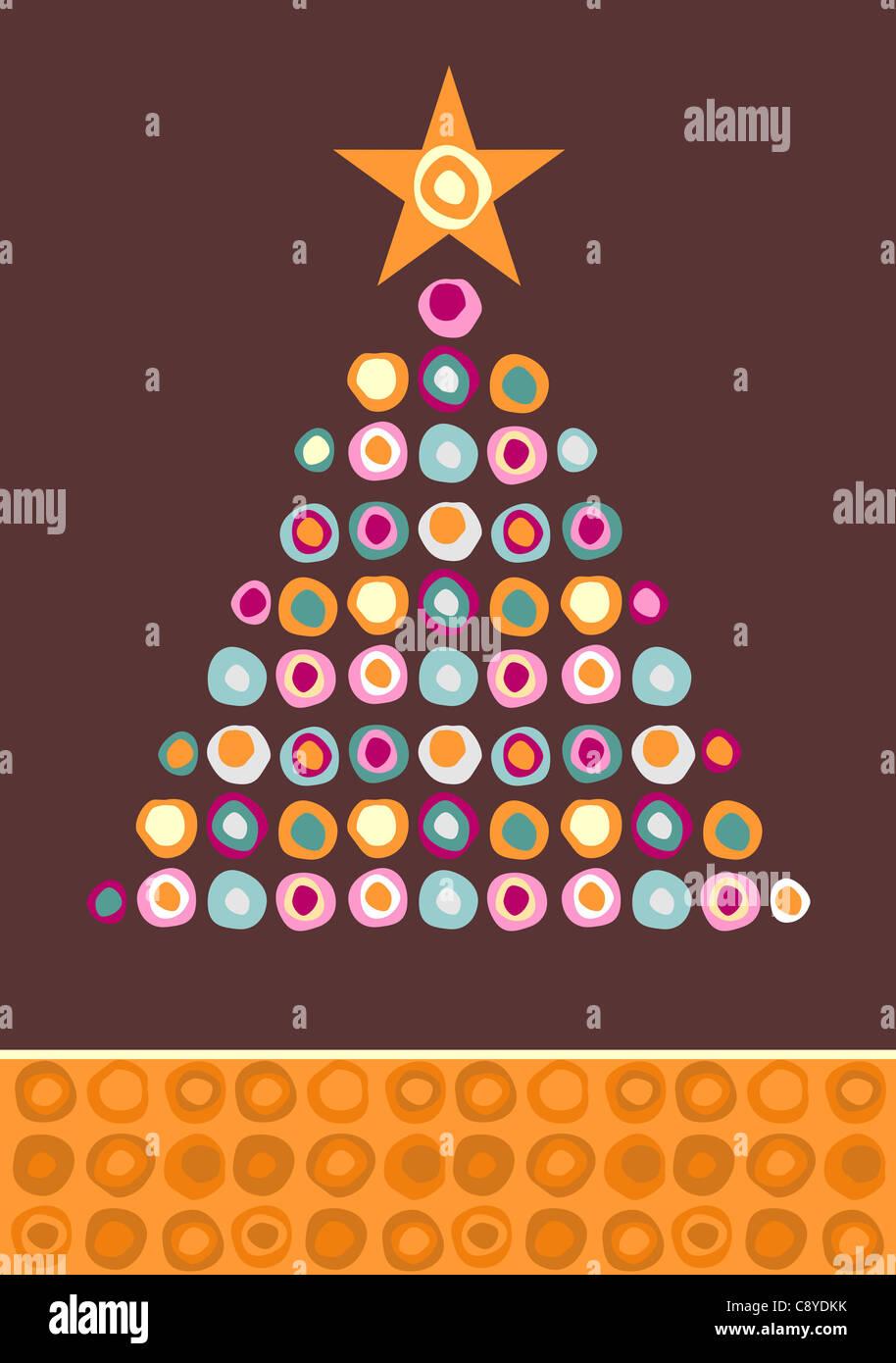 Albero di Natale fatto di cerchi multicolore con una stella in alto su sfondo viola. File vettoriale disponibile. Immagini Stock