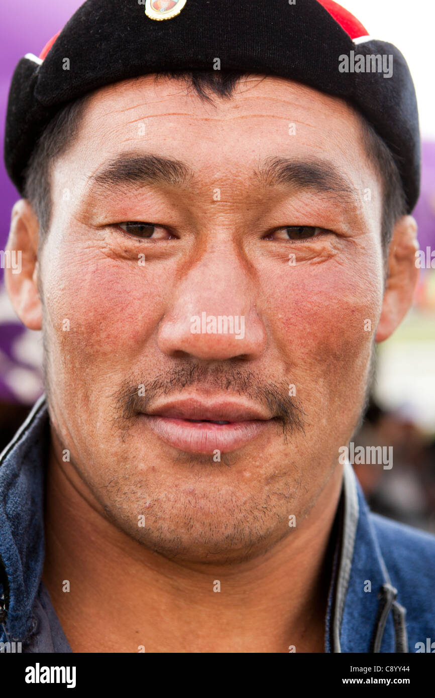 Faccia di wrestler mongolo, Tsagaannuur, Khövsgöl, Mongolia Immagini Stock