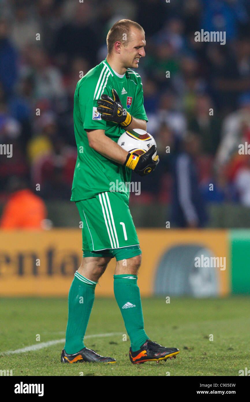 Il portiere Jan Mucha della Slovacchia detiene la sua spalla durante una Coppa del Mondo FIFA Group F match contro Immagini Stock