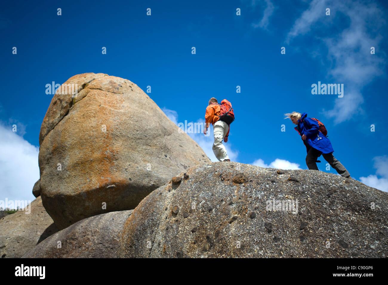 Rocce di granito, il Whisky Bay, Wilsons Promontory National Park, Victoria, Australia Immagini Stock