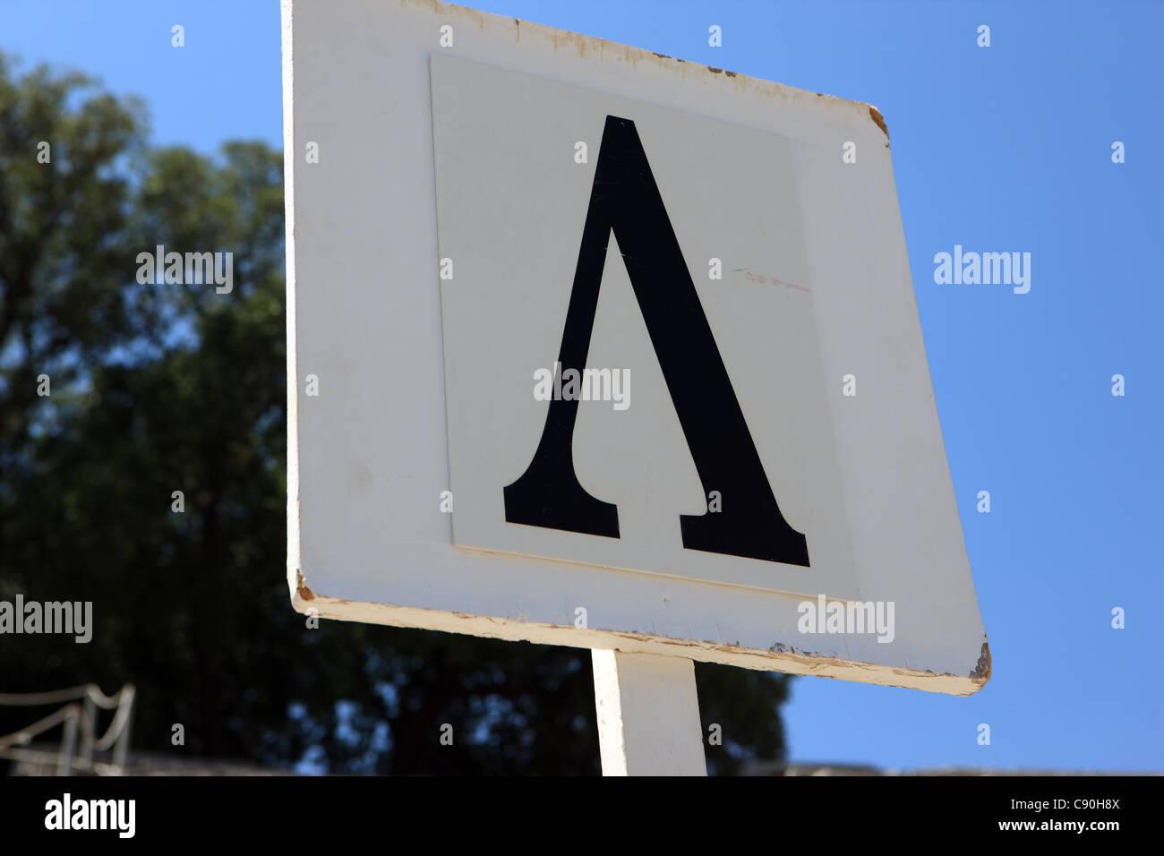 Alfabeto greco lettera Lambda che è l'equivalente di L in European script Foto Stock