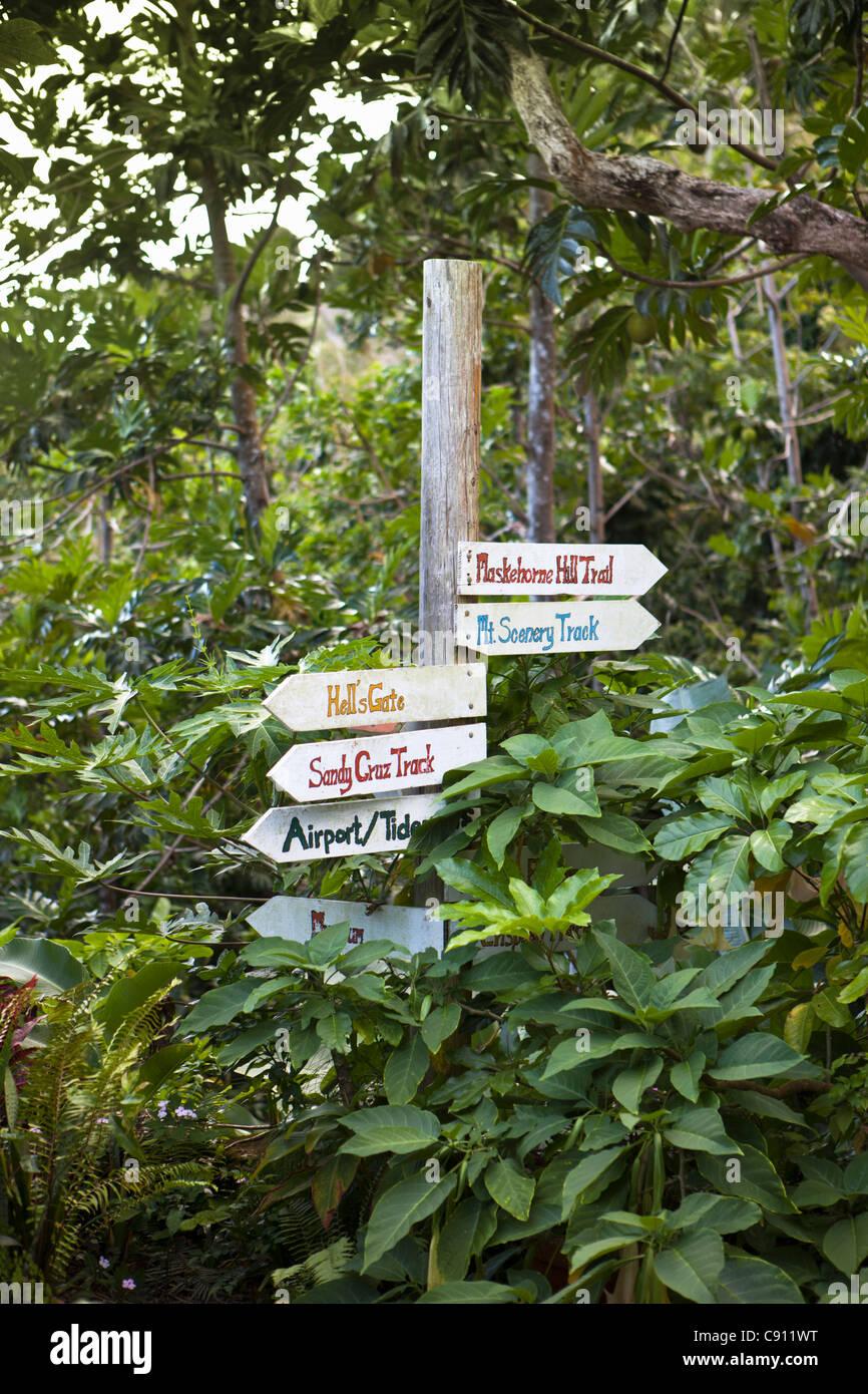 Windwardside, Isola di Saba, olandese dei Caraibi. Mount Scenery Parco Nazionale. Punto più alto ( 877 metri ) nei Foto Stock