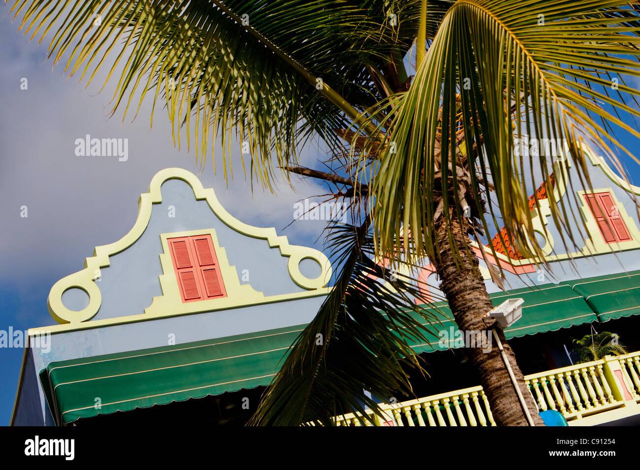 I Paesi Bassi, Bonaire Island, olandese dei Caraibi, Kralendijk, vecchio stile olandese di architettura. Immagini Stock