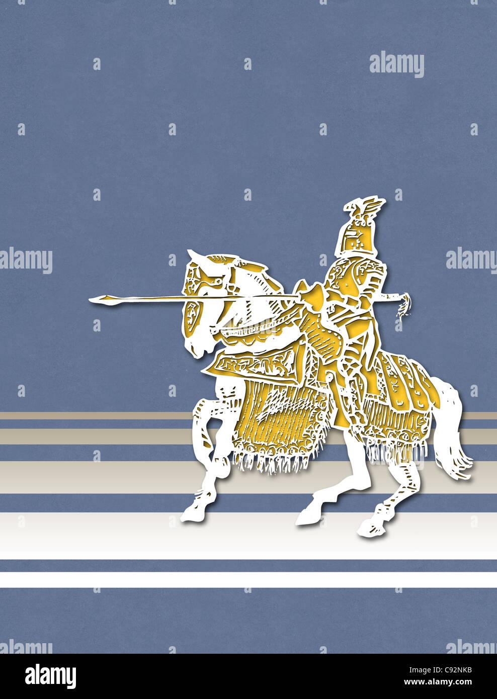 Cut-out illustrazione dello stile del cavallo e cavaliere medievale Immagini Stock