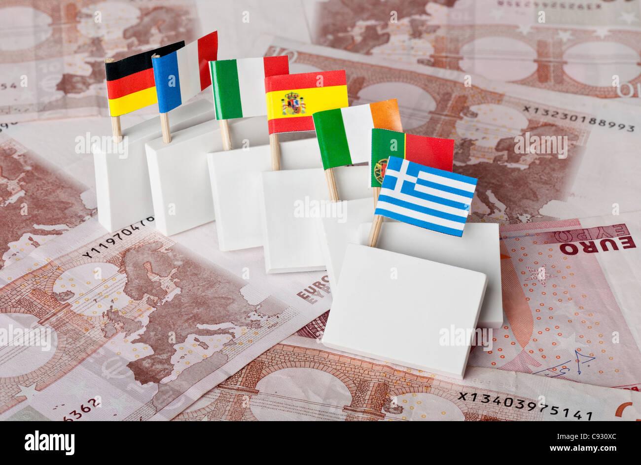 Sovrano greco la crisi debitoria di innescare un effetto domino su altri paesi euro Immagini Stock