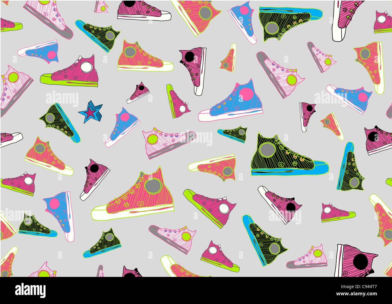 Retrò Seamless pattern fatta di raffreddare disegnati a mano scarpe sportive in diversi colori. Immagini Stock