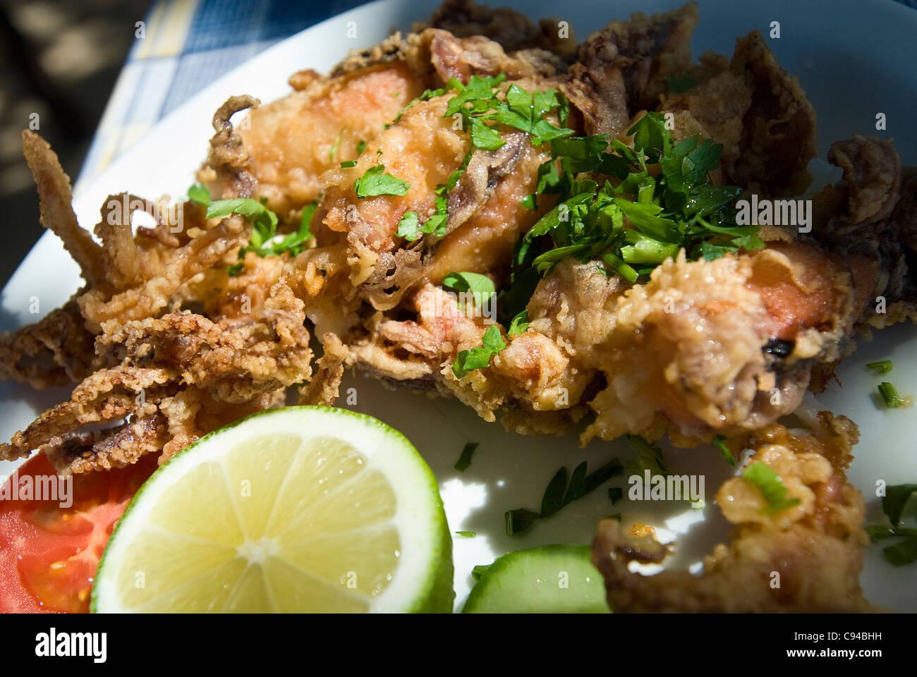 Calamari fritti cibo locale di Cipro Immagini Stock