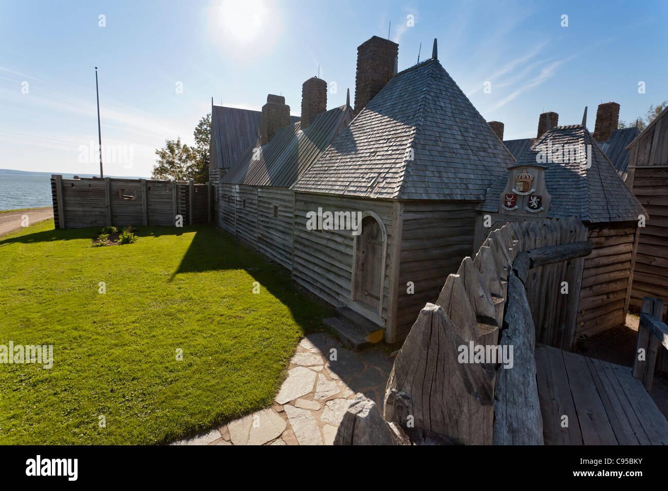Ingresso al Port Royal di abitazione. Il ricostruito Port Royal dimora è il primo stabile Nova Scotia settlement Immagini Stock
