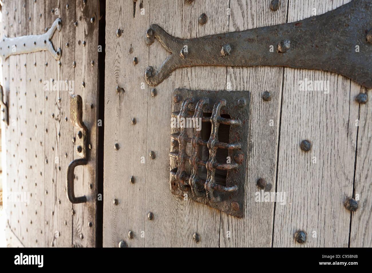 Dettaglio del ricostruito porta di ingresso al Port Royal di abitazione. Immagini Stock