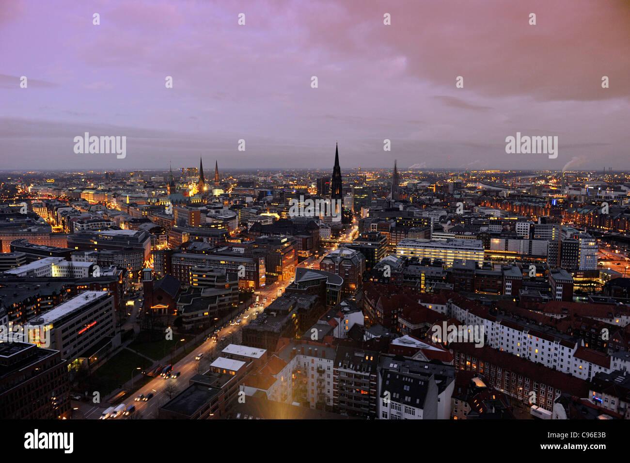 Centro citta', neve, città, panorama, Amburgo, Germania, Europa Foto Stock