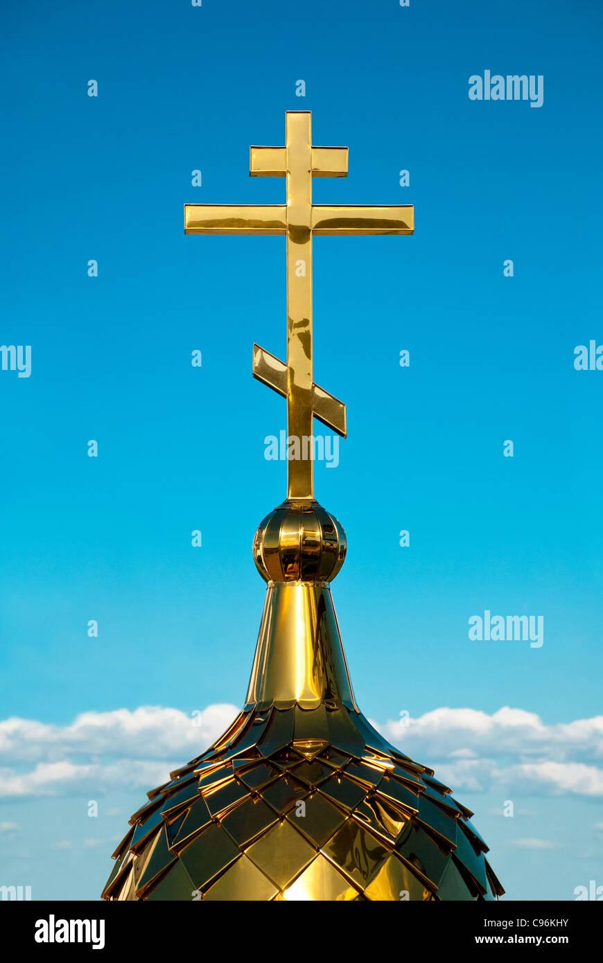 Chiesa russo-ortodossa croce. Il cristianesimo e tutte le cose ad esso correlati. Immagini Stock