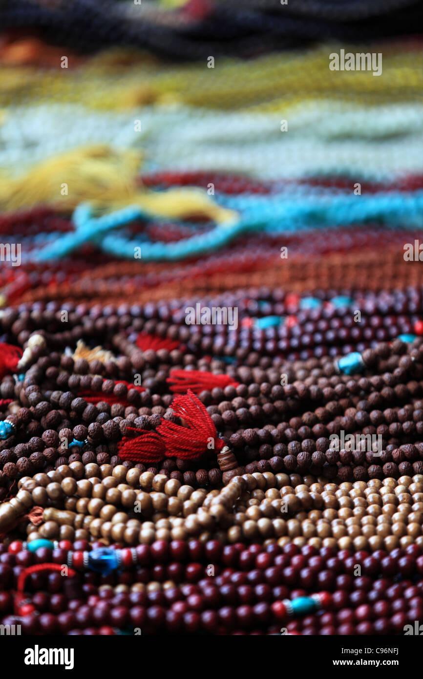 Preghiera japamalas per la vendita in India Foto Stock