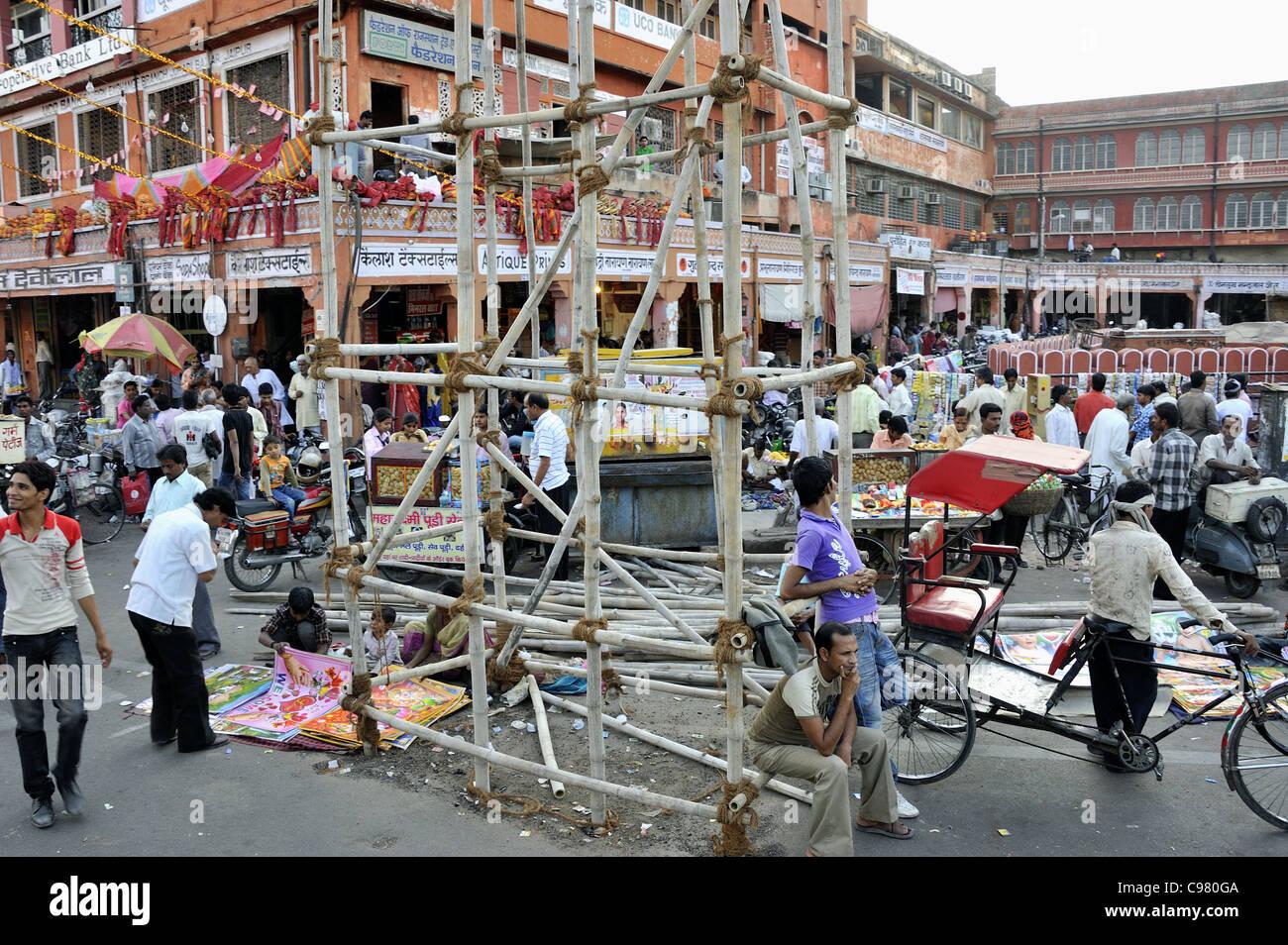 La frenetica e caotica strade di Jaipur India Immagini Stock