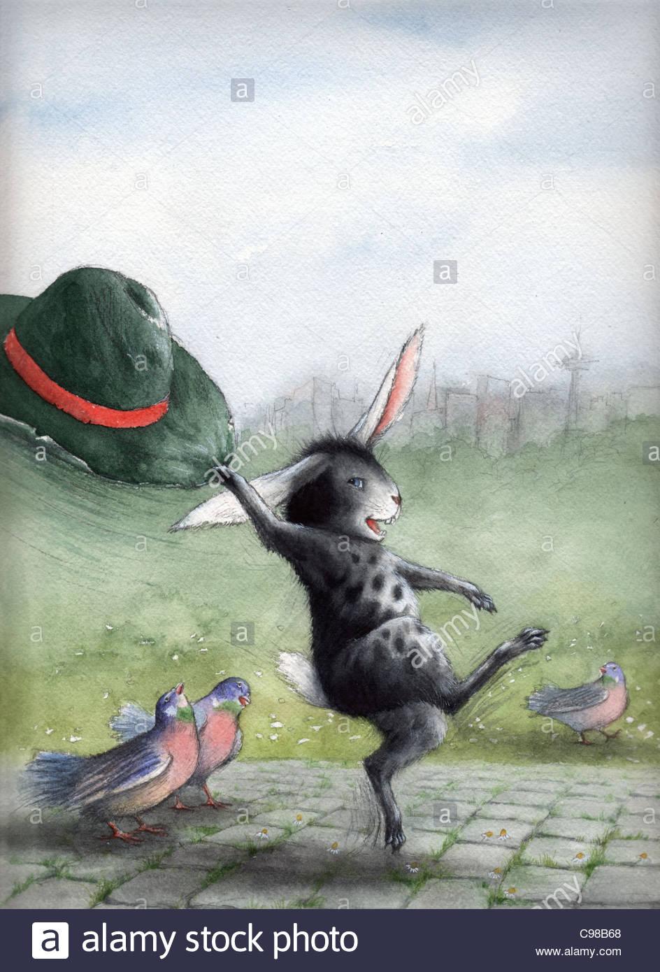 Coniglietto di pasqua con hat coniglietto di pasqua coniglietto di Pasqua Immagini Stock