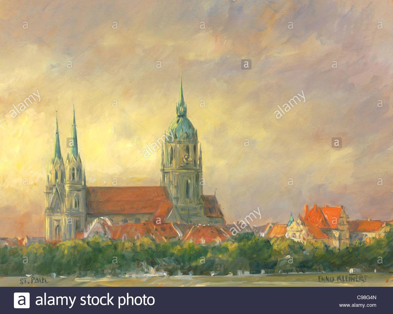 Serie Monaco di Baviera la chiesa di San Paolo Immagini Stock