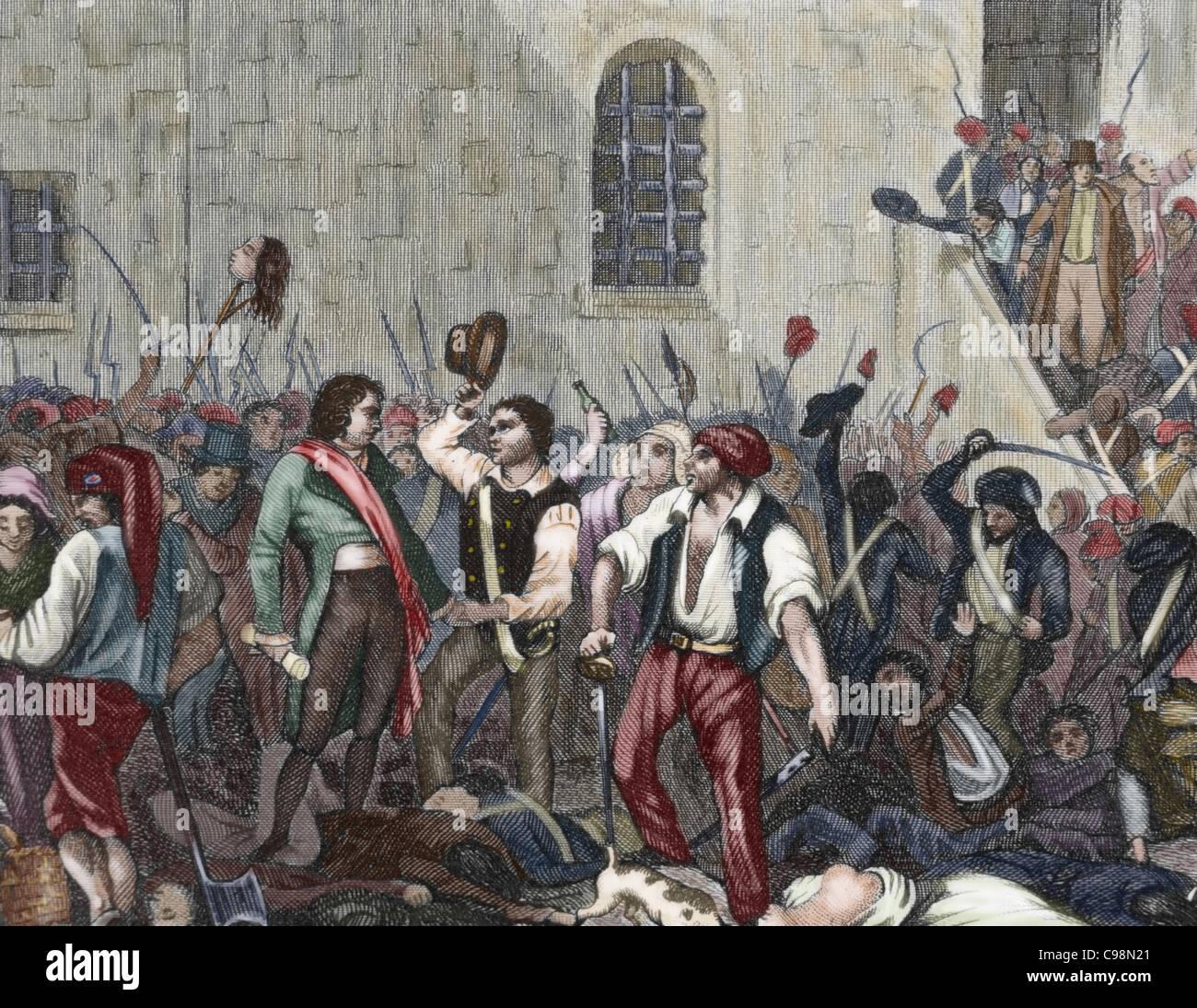 Rivoluzione francese. Esecuzione di chierici e detenuti dai membri della Comune di Parigi. Settembre, 1792. Incisione Immagini Stock