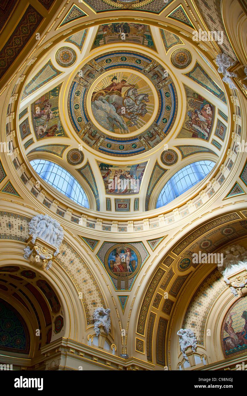Budapest, soffitto dei Bagni Szechenyi Sala principale Immagini Stock