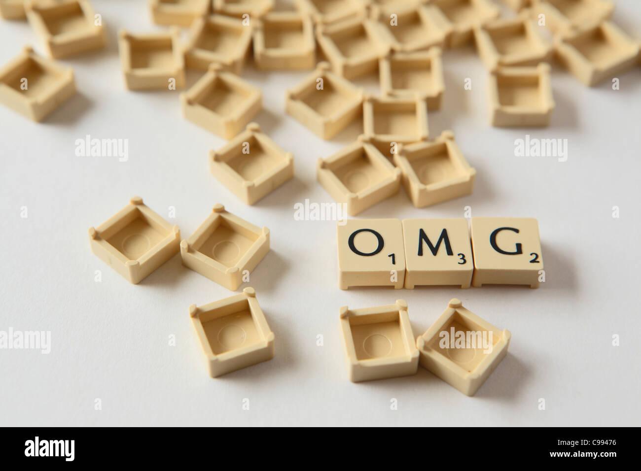 Lettera di Scrabble Piazze, studio fotografico, REGNO UNITO Foto Stock
