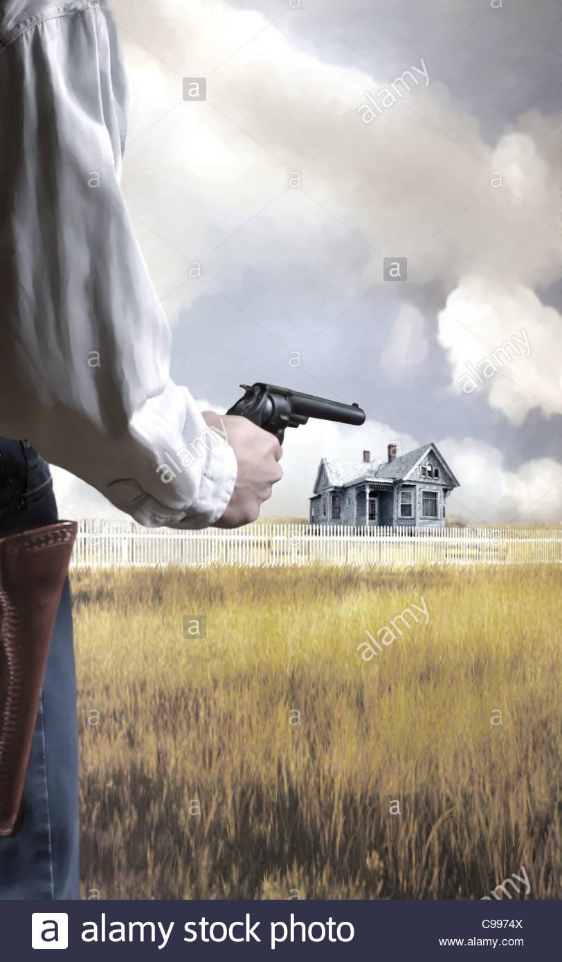 Berfall Lonely Home Case di pistola di edifici di architettura Immagini Stock