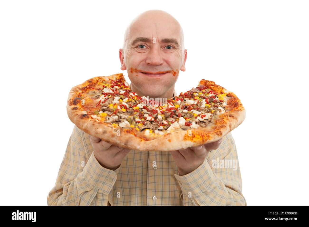 Glutton mangiare grande pizza su sfondo bianco Immagini Stock